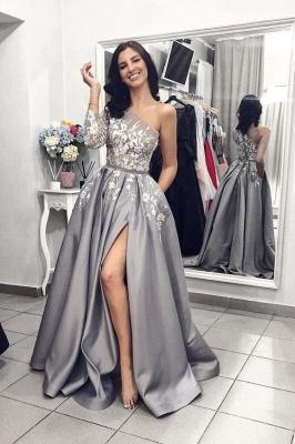 Modern Silber Abendkleider Mit Ärmel | Abendmoden Spitze_1