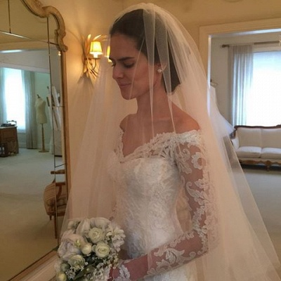 White Wedding Dresses With Sleeves Off Shoulder Lace Bridal Wedding Dresses_4