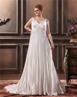 Weiß Brautkleider Große Größe Träger Etuikleider Übergröße Hochzeitskleider_5