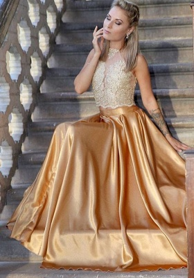 Fashion Evening Dresses Golden Lace Floor Length Evening Wear Prom Dresses_1
