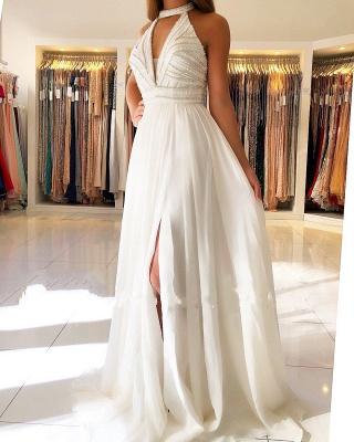 Schöne Weiße Abendkleider Lang | Chiffonkleider Abendmoden Online_1