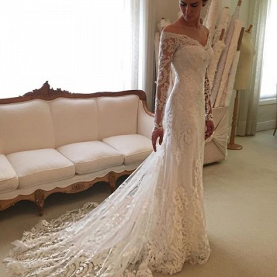 White Wedding Dresses With Sleeves Off Shoulder Lace Bridal Wedding Dresses_3