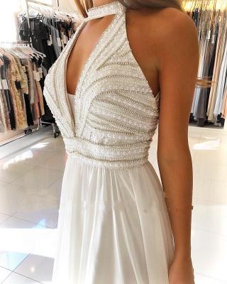 Schöne Weiße Abendkleider Lang | Chiffonkleider Abendmoden Online_2