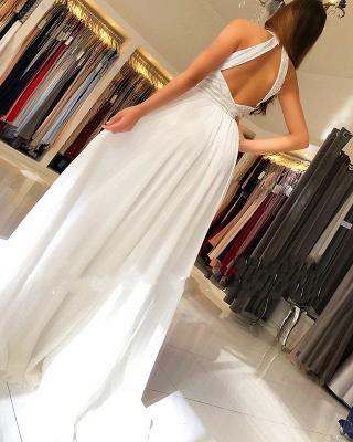 Schöne Weiße Abendkleider Lang | Chiffonkleider Abendmoden Online_3