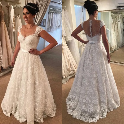 White Wedding Dresses for Civil Ceremonies A line Wedding Dresses With Lace_2