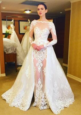 Brautkleider Lang Ärmel Spitze Etuikleider Weiße Hochzeitskleider Brautmoden_1