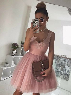 Chic Pink Short Prom Dresses Tulle Knee Length Prom Dresses Evening Wear_2
