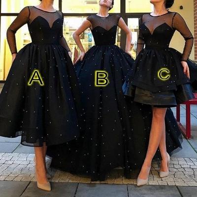 Schwarz Lange Abendkleider Kurz A Linie Abendmoden Abiballkleider Online_1