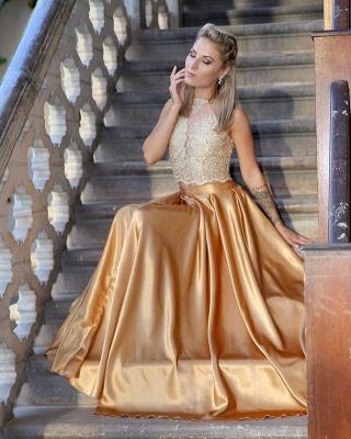 Fashion Abendkleider Golden Spitze Bodenlang Abendmoden Abiballkleider_2