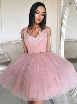 Chic Pink Short Prom Dresses Tulle Knee Length Prom Dresses Evening Wear_1