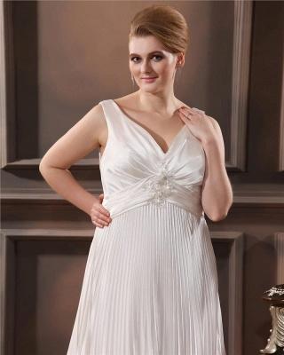Weiß Brautkleider Große Größe Träger Etuikleider Übergröße Hochzeitskleider_2