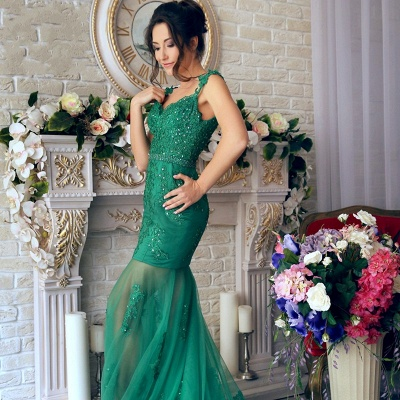 Green Long Evening Dresses Cheap Lace Mermaid Off Shoulder Evening Wear Prom Dresses_4