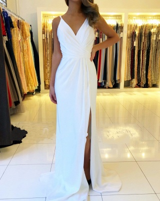 Beautiful White Evening Dresses Long | Chiffon dresses Simple evening dress_1