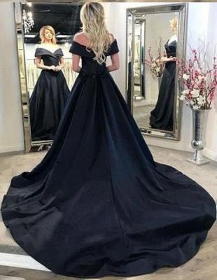 Elegante Abendkleider Lang Schwarz A Linie Abiballkleider Abendmoden Online_1