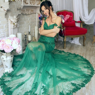 Green Long Evening Dresses Cheap Lace Mermaid Off Shoulder Evening Wear Prom Dresses_3