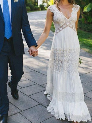 Modern Chiffon Wedding Dresses With Lace Sheath Dresses Wedding Dresses Cheap_2