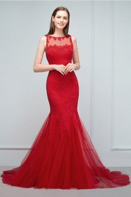 Red Evening Dresses Long Cheap Lace Mermaid Evening Dresses Prom Dresses Online_2