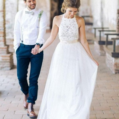 Designer White Wedding Dresses Beach With Lace Sheath Dress Wedding Gowns Bridal_2