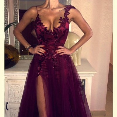 New Wine Red Evening Dresses Long Cheap Tulle Evening Dresses Prom Dresses Online_4