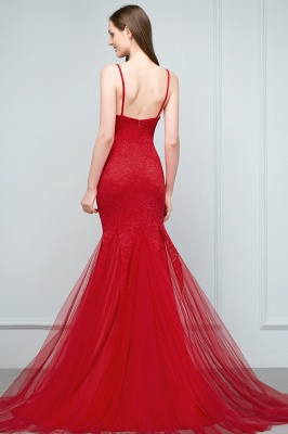 Red Evening Dresses Long Cheap Lace Mermaid Evening Dresses Prom Dresses Online_4