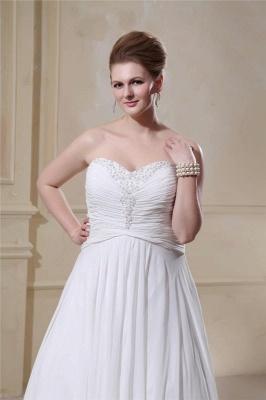 Weißes Übergröße Brautkleider Chiffon Strand Hochzeitskleider Große Größe_3