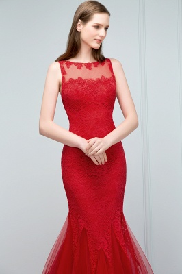 Red Evening Dresses Long Cheap Lace Mermaid Evening Dresses Prom Dresses Online_3
