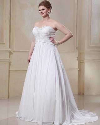 Weißes Übergröße Brautkleider Chiffon Strand Hochzeitskleider Große Größe_5