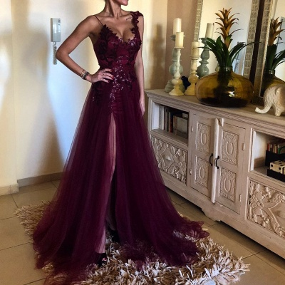 New Wine Red Evening Dresses Long Cheap Tulle Evening Dresses Prom Dresses Online_2