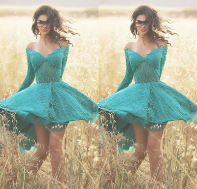 Green Cocktail Dresses Lace With Sleeves A Line Prom Dresses Cheap Online_2