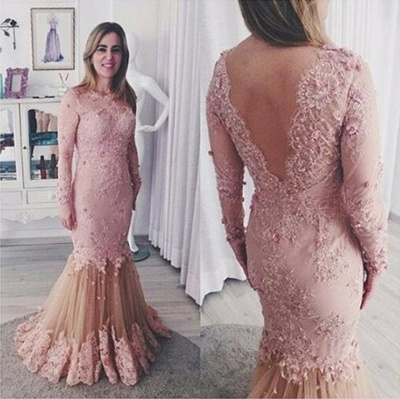 Günstige Rosa Brautmutterkleider Mit Ärmel Spitze Abendkleider Kleider für Hochzeitsparty_2