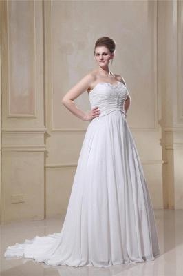 Weißes Übergröße Brautkleider Chiffon Strand Hochzeitskleider Große Größe_4