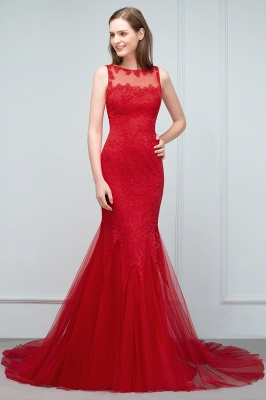 Red Evening Dresses Long Cheap Lace Mermaid Evening Dresses Prom Dresses Online_5