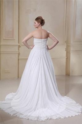 Weißes Übergröße Brautkleider Chiffon Strand Hochzeitskleider Große Größe_2