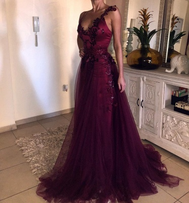 New Wine Red Evening Dresses Long Cheap Tulle Evening Dresses Prom Dresses Online_5