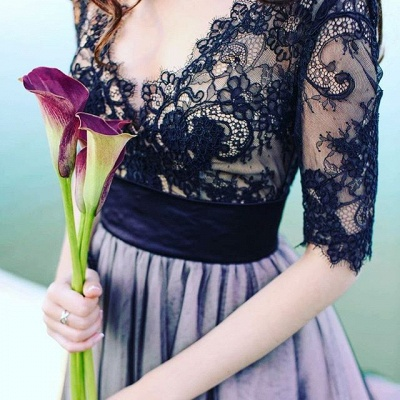 Elegant evening dresses black with lace sleeves evening dress long cheap_3