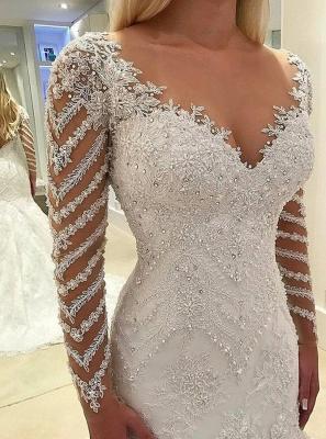 Elegant white wedding dresses lace cheap wedding dresses with sleeves_2