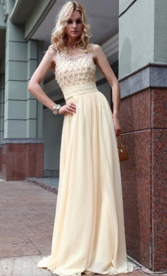 Yellow Chiffon Long Evening Dresses Beaded Chiffon Connection Ball Dresses Party Dresses_2