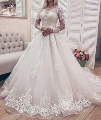 Modern Brautkleider A Linie Mit Ärmel | Hochzeitskleider Spitze Online_1