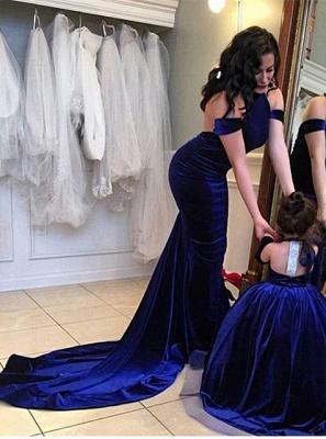 Elegante Lange Abschlussballkleider Abendkleider Royal Blue Meerjungfrau Abendmoden_1