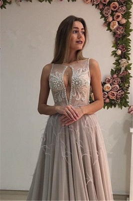 Elegant evening dresses long straps tulle prom dresses evening wear_3