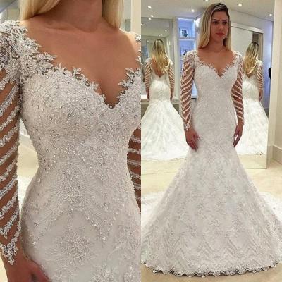 Elegant white wedding dresses lace cheap wedding dresses with sleeves_3
