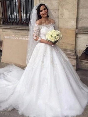 Designer Wedding Dresses With Sleeves Lace Wedding Dresses A Line_1