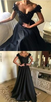 Moderne Abendkleider Schwarz Lang Perlen A Linie Abendmoden Abiballkleider_2