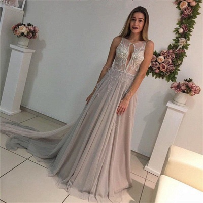 Elegant evening dresses long straps tulle prom dresses evening wear_4