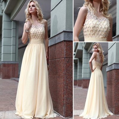 Yellow Chiffon Long Evening Dresses Beaded Chiffon Connection Ball Dresses Party Dresses_3