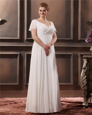 Cheap Wedding Dresses Plus Size White With Sleeves Large Size Wedding Dresses_4