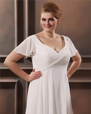 Cheap Wedding Dresses Plus Size White With Sleeves Large Size Wedding Dresses_3