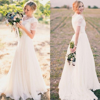 Elegant beach wedding dresses white with sleeves lace tulle wedding gowns with train_2