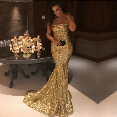Golden Evening Dresses Long Cheap Sequined Mermaid Prom Dresses Evening Wear Cheap Online_2