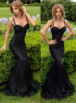 Lace Evening Dresses Black Long Evening Wear Mermaid Prom Dresses_1